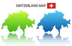 De kaart van Zwitserland Stock Afbeeldingen