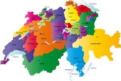 De kaart van Zwitserland Stock Foto