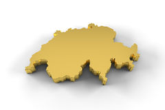 De kaart van Zwitserland 3D in gouden en met inbegrip van het knippen van weg Royalty-vrije Stock Afbeelding