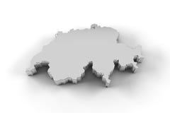 De kaart van Zwitserland 3D in zilveren en met inbegrip van het knippen van weg Royalty-vrije Stock Foto