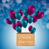 De Kaart Vectorillustratie van kleuren Glanzende Ballons Stock Afbeeldingen