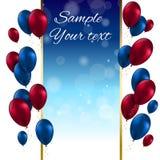 De Kaart Vectorillustratie van kleuren Glanzende Ballons Stock Foto's
