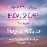 De kaart vectormalplaatje van de uitnodigings bruids douche Stock Fotografie