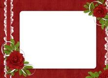De kaart voor de vakantie met rood nam toe Stock Fotografie