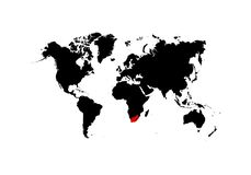 De kaart Zuid-Afrika van wordt benadrukt in rood op de wereldkaart - Vector royalty-vrije illustratie
