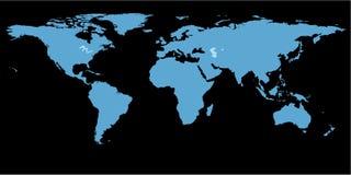De kaart zwarte achtergrond van de wereld royalty-vrije illustratie
