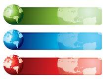De kaartbanners van de wereld Stock Afbeeldingen