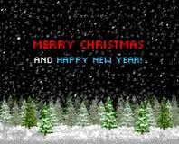 De kaartboom van de Kerstmisgroet pixelart vector illustratie