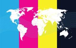 De kaartcomunication van de wereld Stock Afbeeldingen