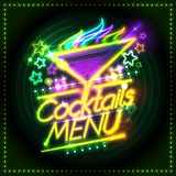 De kaartdekking van het cocktailsmenu met neonlichten en brandende cocktail vector illustratie