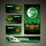 De kaarten en de banner van Halloween Stock Foto's