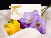 De kaarten en de bloemen van de uitnodiging op gevoelige zijde Royalty-vrije Stock Afbeeldingen