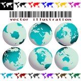 De kaarten en de bollenvector van de wereld Royalty-vrije Stock Foto
