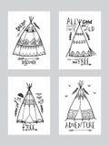 De kaarten van de Bohostijl met wigwam of tipi Royalty-vrije Stock Afbeeldingen