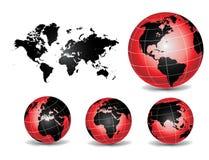 De Kaarten van de wereldbol Stock Afbeeldingen