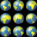 De Kaarten van de Bol van de wereld Royalty-vrije Stock Foto's