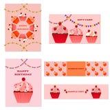 De Kaarten van de Cupcakesgroet en Banners Royalty-vrije Stock Foto