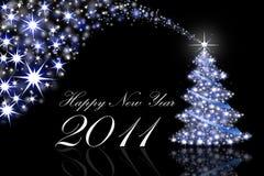 De Kaarten van de Groet van het nieuwjaar 2011 op zwarte Stock Foto