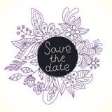 De kaarten van de huwelijksuitnodiging met bloemenelementen Stock Foto's