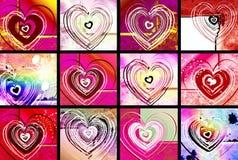 De kaarten van de valentijnskaart Stock Afbeeldingen