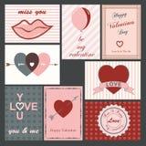 De kaarten van de valentijnskaart Stock Foto's