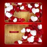 De kaarten van de valentijnskaartendag met boog Stock Fotografie