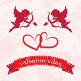 De kaarten van de valentijnskaartendag met ornamenten, harten, engel en pijl Royalty-vrije Stock Foto's