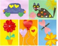 De kaarten van de verwezenlijkingskinderen van ideeën tegen de dag van de Valentijnskaart Royalty-vrije Stock Afbeelding