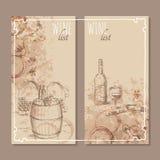 De kaarten van de wijnlijst De schets van menukaarten royalty-vrije illustratie