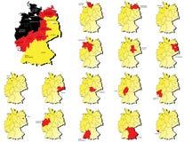 De kaarten van Deutschlandprovincies Stock Afbeelding
