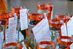 de kaarten van gastennamen bij huwelijksdiner lijsten Royalty-vrije Stock Afbeelding