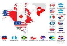 Overzichtskaarten van de landen  Stock Afbeeldingen