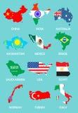 Overzichtskaarten van de landen met nationale vlaggen Royalty-vrije Stock Fotografie