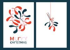 De Kaarten van de Kerstmisgroet met Maretak Vector Illustratie