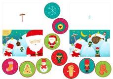 De kaarten van de Kerstmisgroet met santa en sneeuwman in twee variaties royalty-vrije illustratie