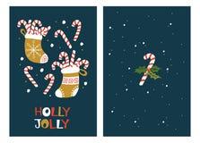 De Kaarten van de Kerstmisgroet met Suikergoedriet Vector Illustratie