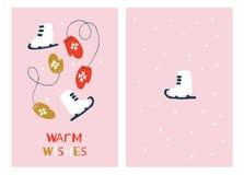 De Kaarten van de Kerstmisgroet met Vleten en Vuisthandschoenen Royalty-vrije Illustratie