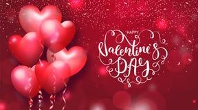 De kaarten van de valentijnskaartendag met hart gestalte gegeven luchtballons en het mooie Van letters voorzien Vector illustrati Royalty-vrije Stock Foto's