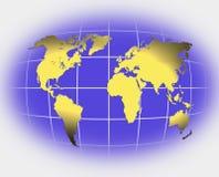 De kaartgoud van de wereld op wit vector illustratie