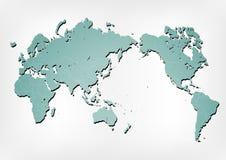 De kaartillustratie van de wereld met schaduwen Royalty-vrije Stock Foto