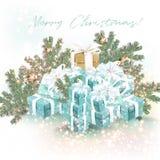 De kaartillustratie van de Kerstmis mooie groet met giften vector illustratie