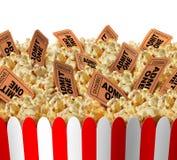 De Kaartjes van de filmpopcorn Stock Afbeelding