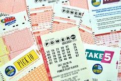 De kaartjes van de Powerballloterij Stock Fotografie
