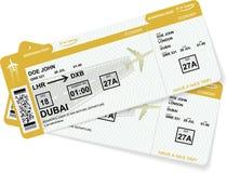 De kaartjes van de luchtvaartlijn instapkaart aan vliegtuig voor reis stock illustratie