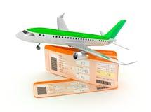 De kaartjesconcept van de vliegtuig instapkaart Stock Afbeelding