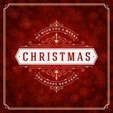 De kaartlichten en sneeuwvlokken van de Kerstmisgroet Stock Fotografie