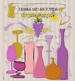 De kaartmalplaatje van de cocktail stock illustratie