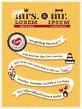 De kaartmalplaatje van de huwelijksuitnodiging Stock Afbeeldingen