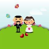 De kaartmalplaatje van de huwelijksuitnodiging Stock Foto