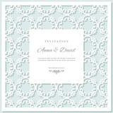 De kaartmalplaatje van de huwelijksuitnodiging met laser scherp kader Pastelkleur blauwe en witte kleuren royalty-vrije illustratie